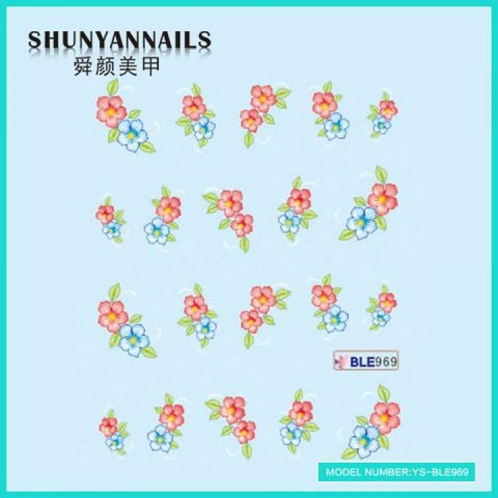 Наклейки для ногтей Голубые, красные цветы
