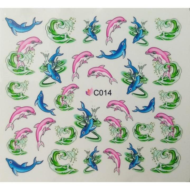 Наклейки для ногтей Рыбки, дельфины голубые, розовые