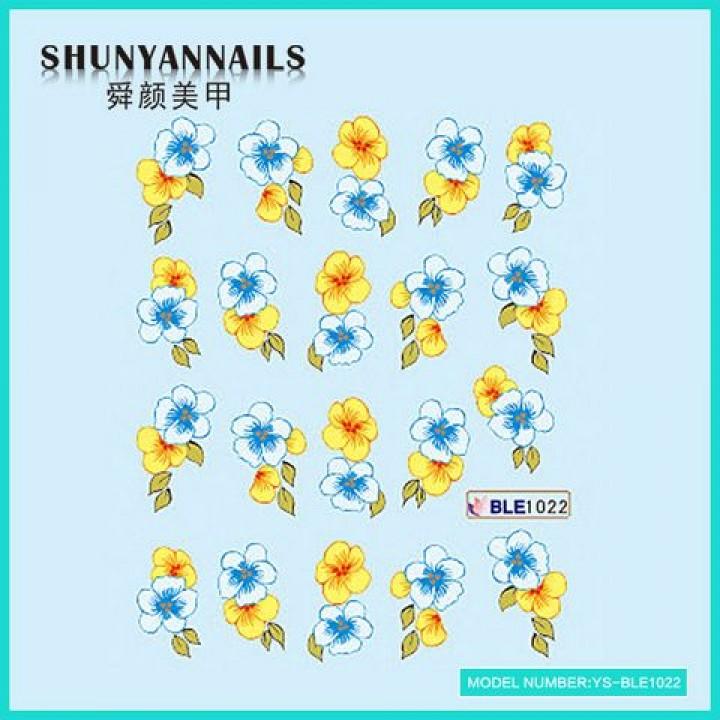 Наклейки для ногтей Цветы голубые