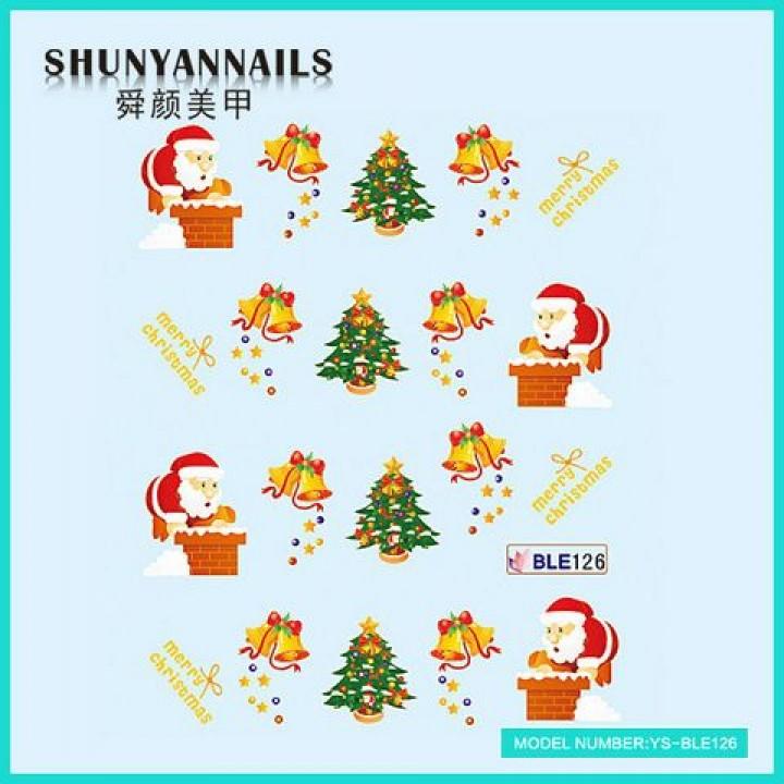 Наклейки для ногтей Новогодние, Санта Клаус, Дед Мороз, колокольчики, елка