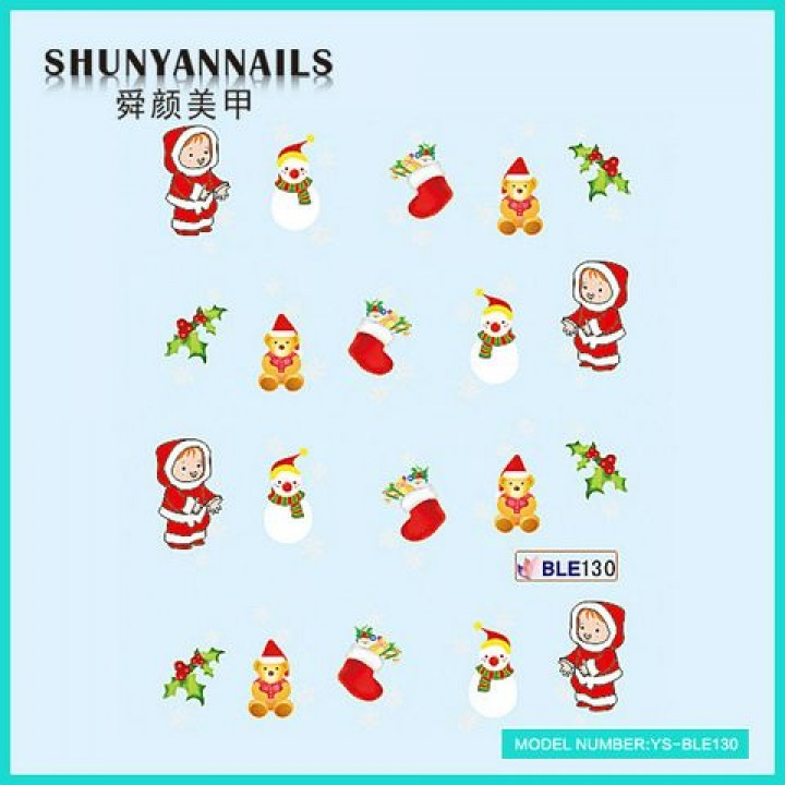 Наклейки для ногтей Новогодние, снеговик, мишка, чулок для подарков