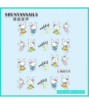 Наклейки на ногти Животные, зайчата