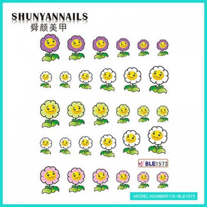 Наклейки для ногтей Цветы-смайлы