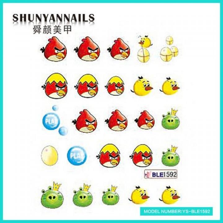Наклейки для ногтей Птицы, Angry Birds, яйцо, шарики