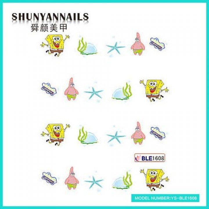Наклейки для ногтей Мультяшки, Губка Боб, Sponge Bob, звезда