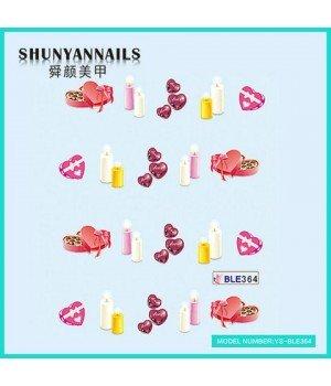 Наклейки на ногти День влюбленных, свечи, сердечки