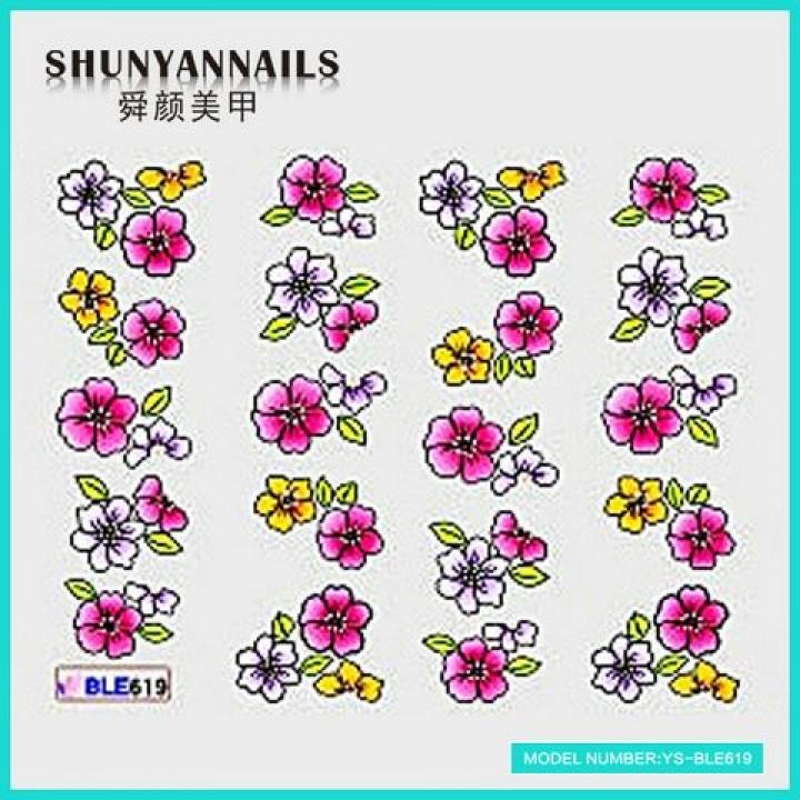 Наклейки для ногтей Цветы белые, малиновые