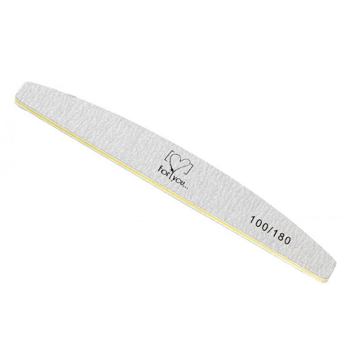 Пилка для обработки ногтей FOR YOU 100/180 лодка серая