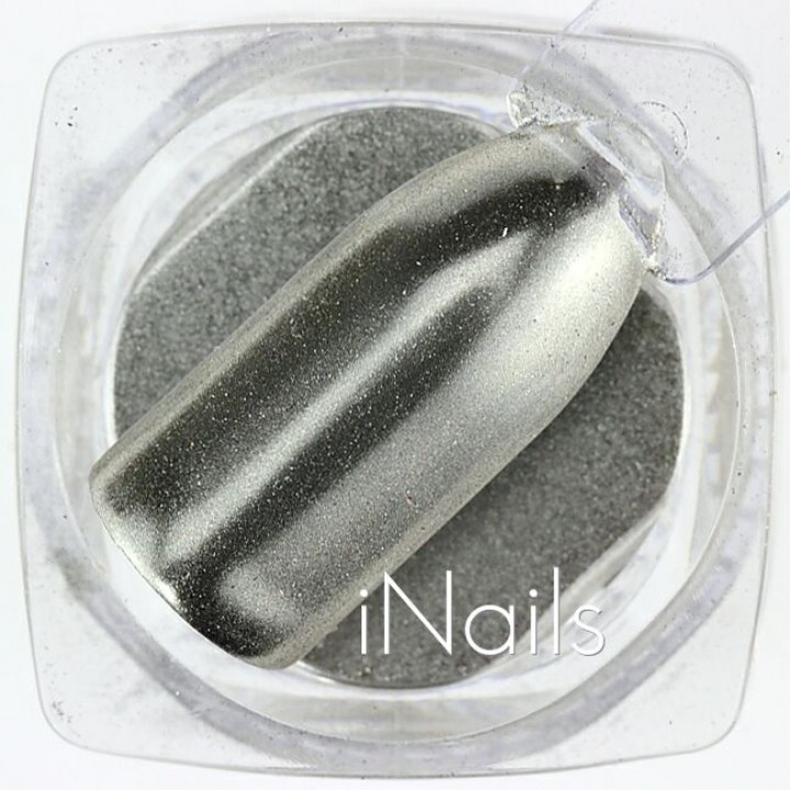 Зеркальная пудра, пигмент Chrome для дизайна ногтей №13 серебро