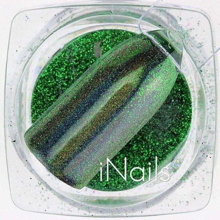 Зеркальная пудра, пигмент для дизайна ногтей зелёная голографическая №17