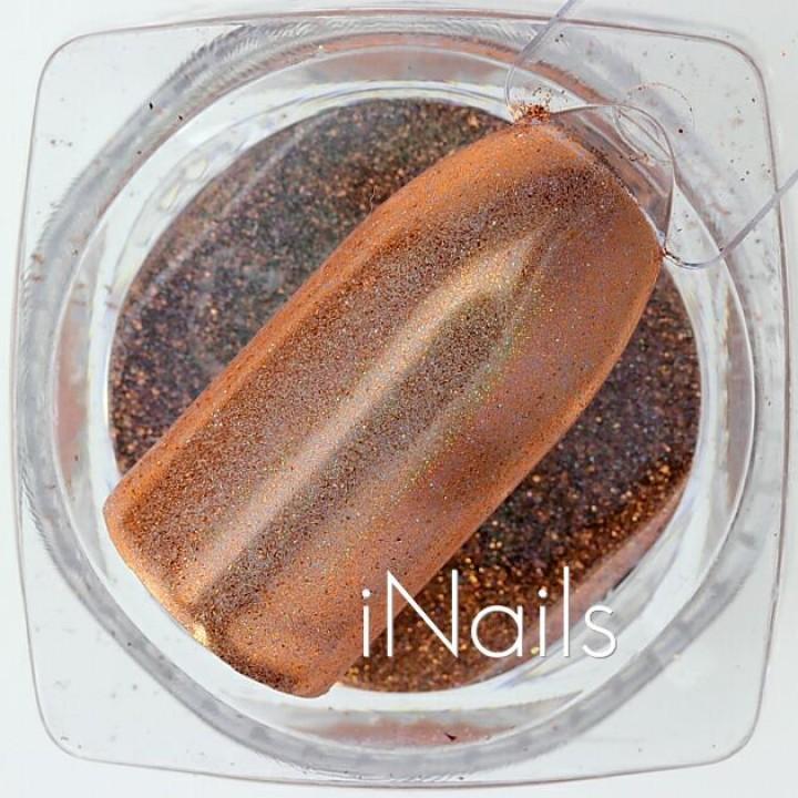 Зеркальная пудра, пигмент для дизайна ногтей красное золото голографическая №20