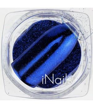 Зеркальная пудра для ногтей №04 Chrome синяя