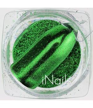 Зеркальная пудра для ногтей №08 Chrome зелёная