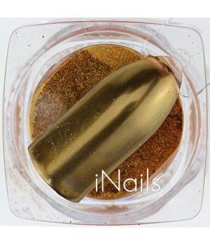 Зеркальная пудра для ногтей №11 Chrome красное золото
