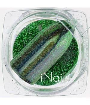 Зеркальная пудра для ногтей №17 зелёная голографическая