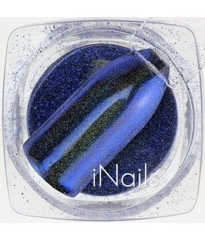 Зеркальная пудра для ногтей №18 синяя голографическая