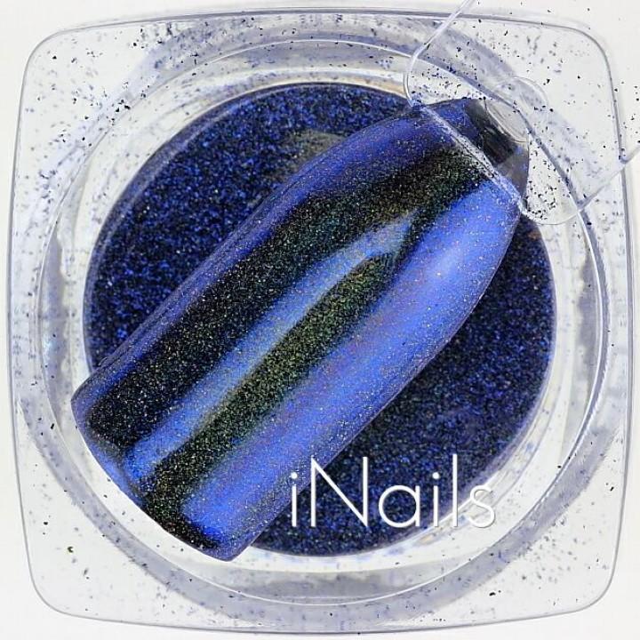 Зеркальная пудра, пигмент для дизайна ногтей синяя голографическая №18
