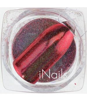 Зеркальная пудра для ногтей №19 красная голографическая