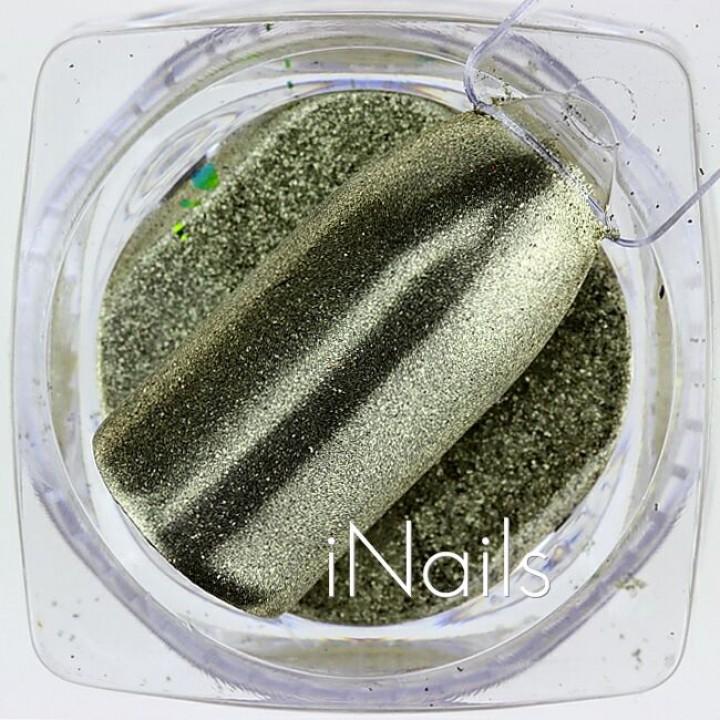 Зеркальная пудра, пигмент для дизайна ногтей золото голографическая №23